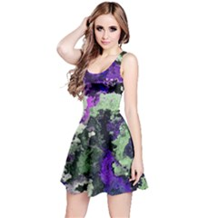 Background Abstract With Green And Purple Hues Reversible Sleeveless Dress
