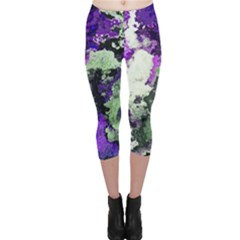 Background Abstract With Green And Purple Hues Capri Leggings