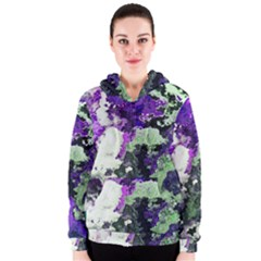 Background Abstract With Green And Purple Hues Women s Zipper Hoodie
