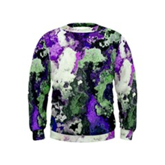 Background Abstract With Green And Purple Hues Kids  Sweatshirt