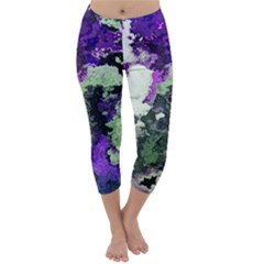 Background Abstract With Green And Purple Hues Capri Winter Leggings