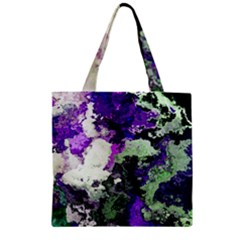 Background Abstract With Green And Purple Hues Zipper Grocery Tote Bag