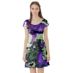 Background Abstract With Green And Purple Hues Short Sleeve Skater Dress