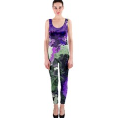Background Abstract With Green And Purple Hues OnePiece Catsuit