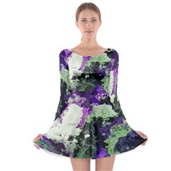 Background Abstract With Green And Purple Hues Long Sleeve Skater Dress