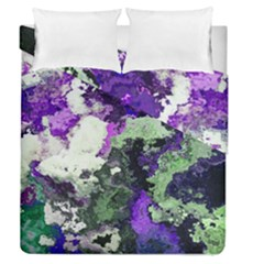 Background Abstract With Green And Purple Hues Duvet Cover Double Side (queen Size)