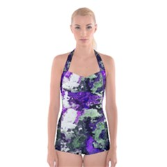 Background Abstract With Green And Purple Hues Boyleg Halter Swimsuit
