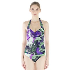 Background Abstract With Green And Purple Hues Halter Swimsuit