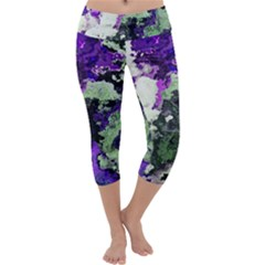 Background Abstract With Green And Purple Hues Capri Yoga Leggings