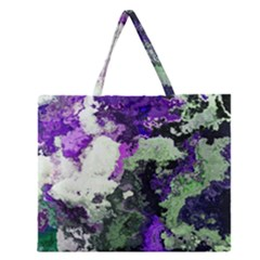 Background Abstract With Green And Purple Hues Zipper Large Tote Bag