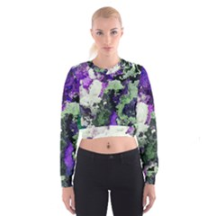 Background Abstract With Green And Purple Hues Women s Cropped Sweatshirt