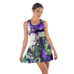 Background Abstract With Green And Purple Hues Cotton Racerback Dress