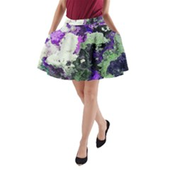 Background Abstract With Green And Purple Hues A-Line Pocket Skirt