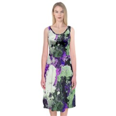 Background Abstract With Green And Purple Hues Midi Sleeveless Dress