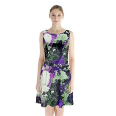 Background Abstract With Green And Purple Hues Sleeveless Chiffon Waist Tie Dress