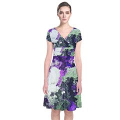 Background Abstract With Green And Purple Hues Short Sleeve Front Wrap Dress