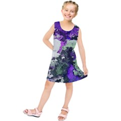 Background Abstract With Green And Purple Hues Kids  Tunic Dress