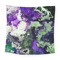 Background Abstract With Green And Purple Hues Square Tapestry (large)