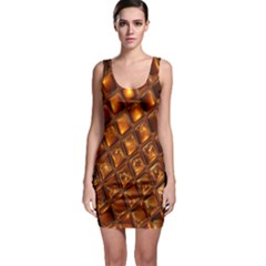 Caramel Honeycomb An Abstract Image Sleeveless Bodycon Dress