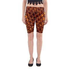 Caramel Honeycomb An Abstract Image Yoga Cropped Leggings