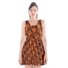 Caramel Honeycomb An Abstract Image Scoop Neck Skater Dress