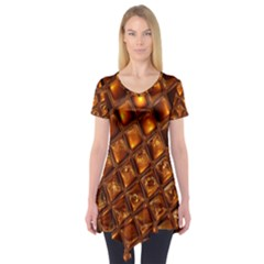 Caramel Honeycomb An Abstract Image Short Sleeve Tunic