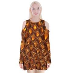 Caramel Honeycomb An Abstract Image Velvet Long Sleeve Shoulder Cutout Dress