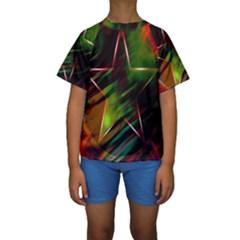 Colorful Background Star Kids  Short Sleeve Swimwear