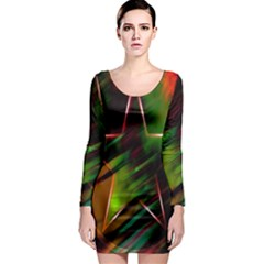 Colorful Background Star Long Sleeve Bodycon Dress