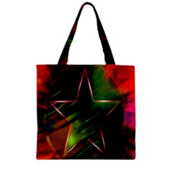 Colorful Background Star Zipper Grocery Tote Bag