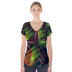 Colorful Background Star Short Sleeve Front Detail Top