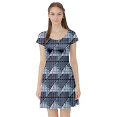 Snow Peak Abstract Blue Wallpaper Short Sleeve Skater Dress