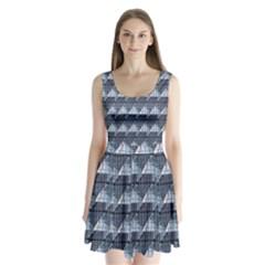 Snow Peak Abstract Blue Wallpaper Split Back Mini Dress