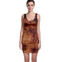 Abstract Brown Smoke Sleeveless Bodycon Dress