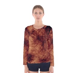 Abstract Brown Smoke Women s Long Sleeve Tee