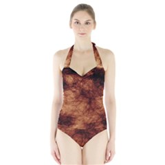 Abstract Brown Smoke Halter Swimsuit