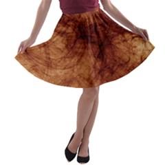 Abstract Brown Smoke A Line Skater Skirt