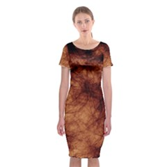 Abstract Brown Smoke Classic Short Sleeve Midi Dress