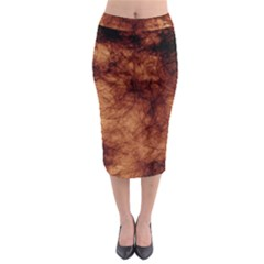 Abstract Brown Smoke Midi Pencil Skirt