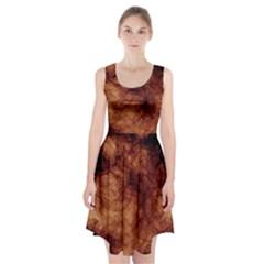 Abstract Brown Smoke Racerback Midi Dress