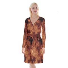 Abstract Brown Smoke Long Sleeve Velvet Front Wrap Dress