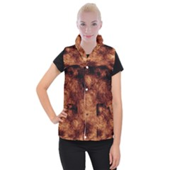 Abstract Brown Smoke Women s Button Up Puffer Vest