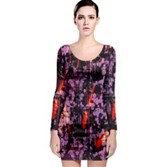 Abstract Painting Digital Graphic Art Long Sleeve Bodycon Dress