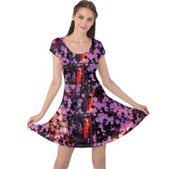 Abstract Painting Digital Graphic Art Cap Sleeve Dresses