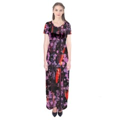 Abstract Painting Digital Graphic Art Short Sleeve Maxi Dress
