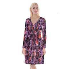 Abstract Painting Digital Graphic Art Long Sleeve Velvet Front Wrap Dress