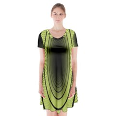 Spiral Tunnel Abstract Background Pattern Short Sleeve V Neck Flare Dress