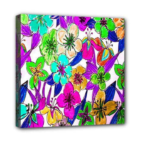 Floral Colorful Background Of Hand Drawn Flowers Mini Canvas 8  x 8