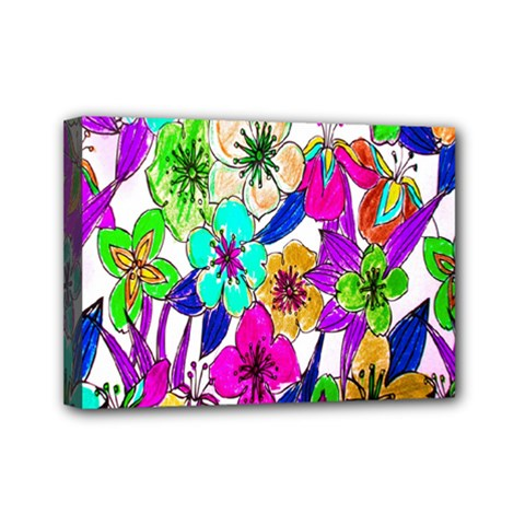 Floral Colorful Background Of Hand Drawn Flowers Mini Canvas 7  x 5