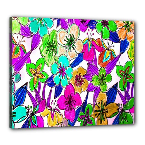 Floral Colorful Background Of Hand Drawn Flowers Canvas 24  X 20